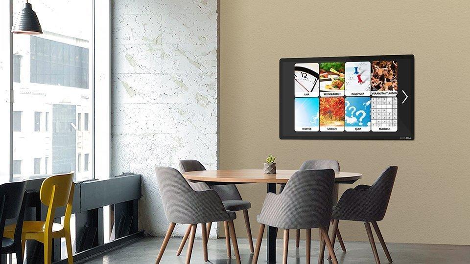Der TAVLA HUB ist das interaktive Gerät zur Wandmontage. Es wird derzeit in zwei Varianten angeboten, 55″ und 43″.